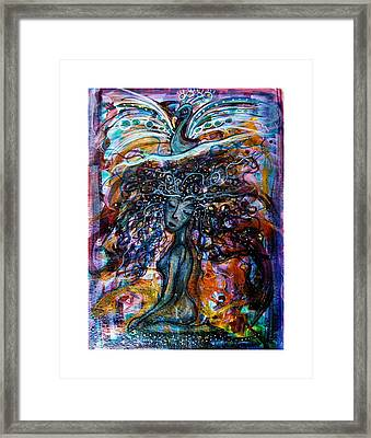 Goddess And Peacock Framed Print