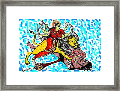 Goddess Durga Framed Print by Anand Swaroop Manchiraju