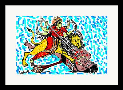 Goddess Durga Digital Art Framed Prints