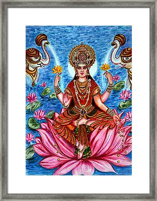Framed Print featuring the painting Goddess Lakshmi by Harsh Malik