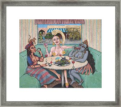 Goddess Lunch Framed Print by Holly Wood