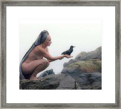 Goddess With Raven Framed Print