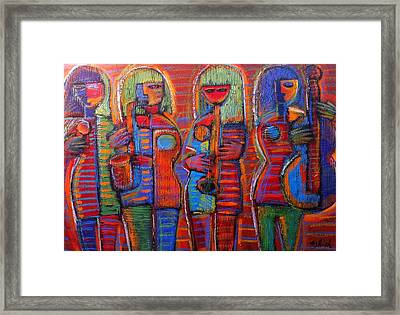 Goddess's Of Music Bring Us Jazz Framed Print by Gerry High