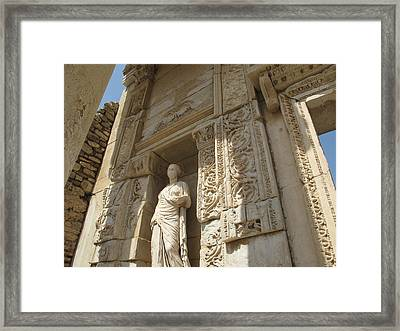 Godess Statue At The Library Of Celsius Ephesus Framed Print by Cimorene Photography