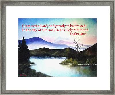 God's Holy Mountian Framed Print by Zelma Hensel