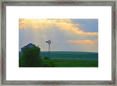God's Light Over Windmill Framed Print