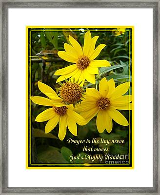 God's Mighty Hands Framed Print by Sara  Raber