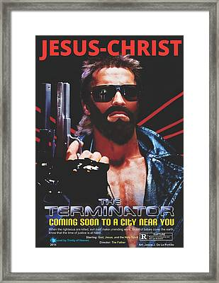 God's Terminator Framed Print by Jessie J De La Portillo