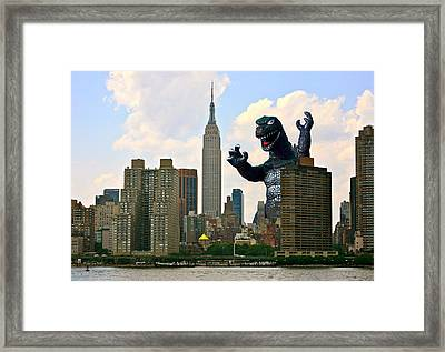 Godzilla And The Empire State Building Framed Print by William Patrick