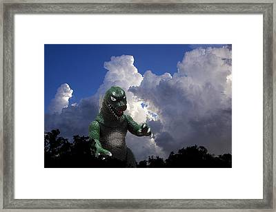 Godzilla Attacks Framed Print by William Patrick