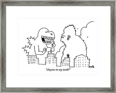 Godzilla, Pointing At His Own Teeth, Asks King Framed Print by Ariel Molvig