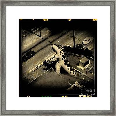 Godzilla Rampage In Seattle Framed Print by John Malone Hlifax Digital Artist