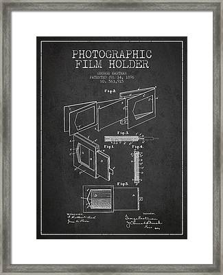 George Eastman Film Holder Patent From 1896 - Dark Framed Print by Aged Pixel