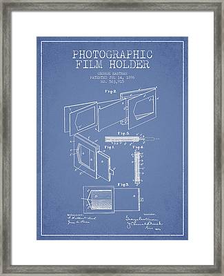 George Eastman Film Holder Patent From 1896 - Light Blue Framed Print by Aged Pixel