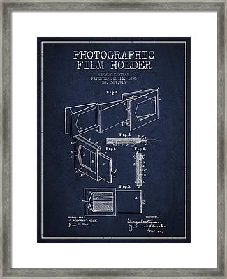 George Eastman Film Holder Patent From 1896 - Navy Blue Framed Print by Aged Pixel