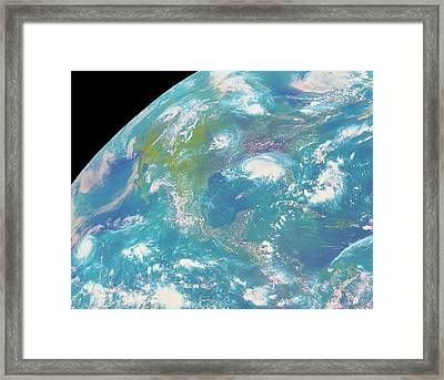 Goes Image Of North & Central America Framed Print by Nasa/science Photo Library