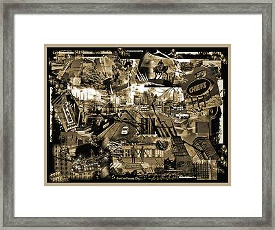 Goin' To Kansas City - Grunge Collage Framed Print by Ellen Tully