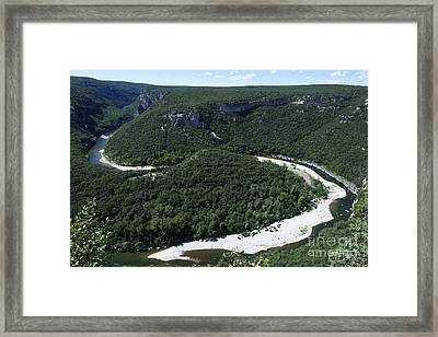 Going Down Ardeche River On Canoe. Ardeche. France Framed Print