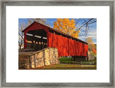 Gold Above The Poole Forge Covered Bridge Framed Print by Adam Jewell