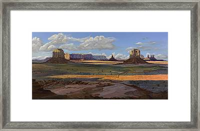 Gold Across The Valley Monument Valley Framed Print by Timithy L Gordon