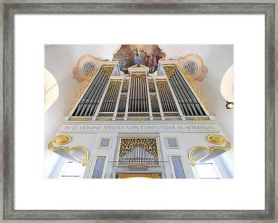 Gold And Blue Pipes Framed Print