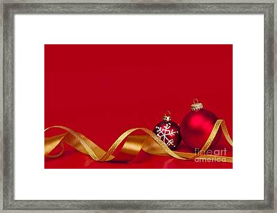 Gold And Red Christmas Decorations Framed Print