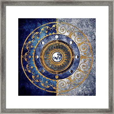 Gold And Sapphire Moon Dial I Framed Print by Michael Marcon