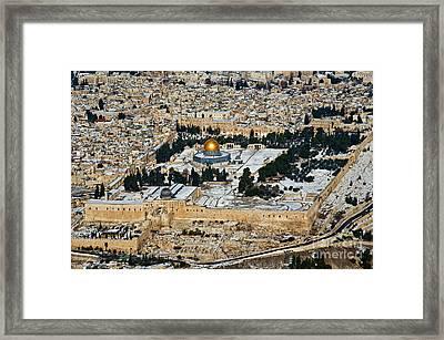 Gold And White In Jerusalem. Framed Print