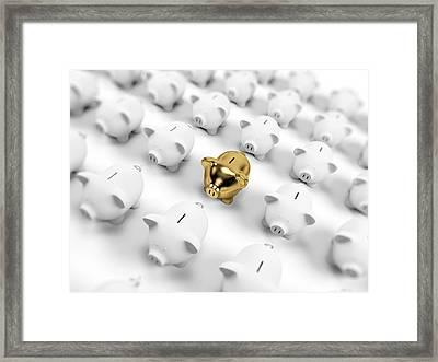 Gold And White Piggy Banks Framed Print
