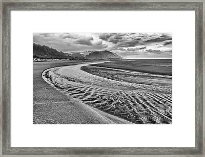 Gold Bluffs Beach Is Located In The Prairie Creek Redwoods State In Black And White. Framed Print