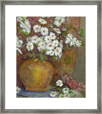 Gold Bowl And Daisies Framed Print by Richard James Digance