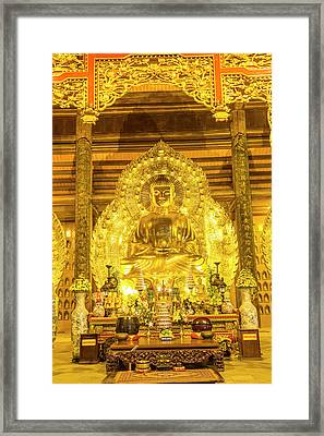Gold Buddha, Bai Dinh, Ninh Binh Framed Print by Peter Adams