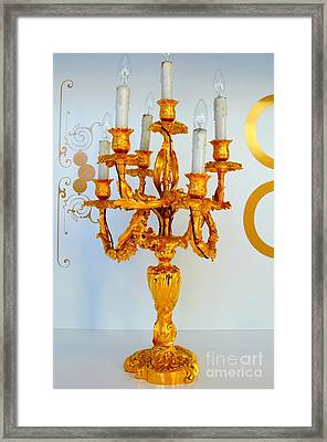 Gold Candelabra Framed Print by Mary Deal