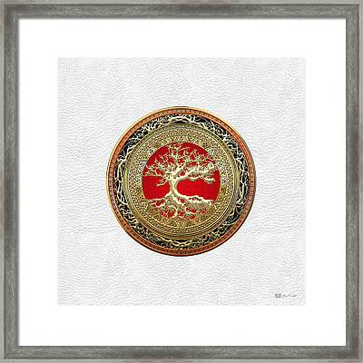 Gold Celtic Tree Of Life On White Leather  Framed Print by Serge Averbukh