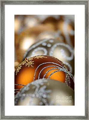 Gold Christmas Ornaments Framed Print by Elena Elisseeva