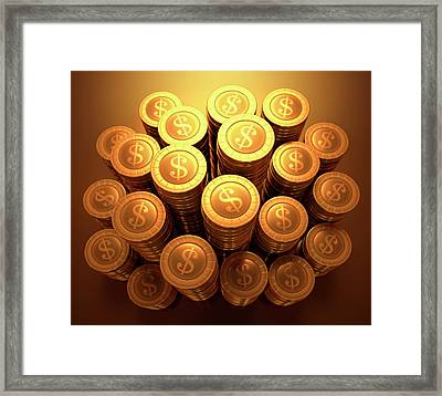 Gold Coins Framed Print by Ktsdesign