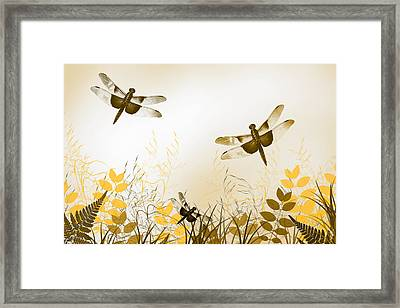 Gold Dragonfly Art Framed Print