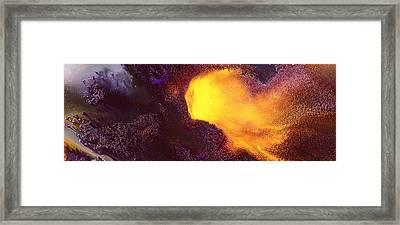 Gold Echo Horizontal Abstract Art By Kredart Framed Print