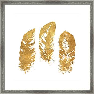 Gold Feather Square Framed Print by Patricia Pinto