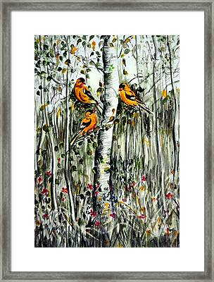 Gold Finches Framed Print