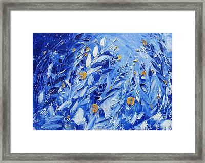 Gold Flowers On Blue Framed Print