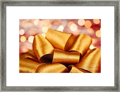 Gold Gift Bow With Festive Lights Framed Print