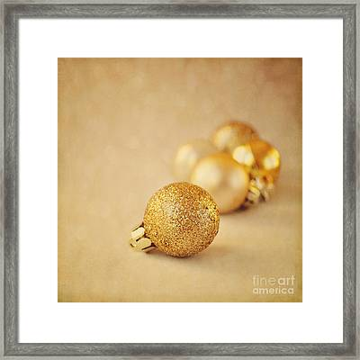 Gold Glittery Christmas Baubles Framed Print by Lyn Randle