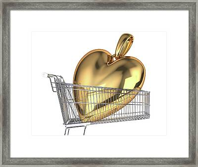 Gold Heart In A Shopping Trolley Framed Print by Leonello Calvetti