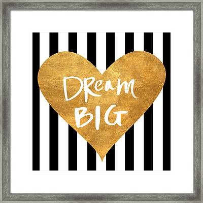 Gold Heart On Stripes I Framed Print by South Social Graphics