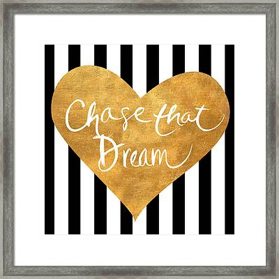 Gold Heart On Stripes II Framed Print by South Social Graphics