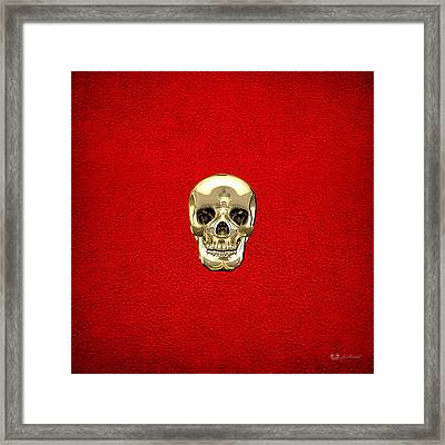 Gold Human Skull On Red Leather Framed Print by Serge Averbukh