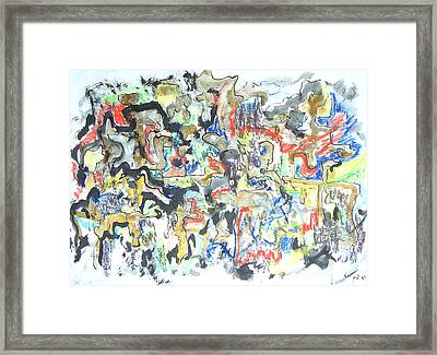Framed Print featuring the painting Gold In Abstract by Esther Newman-Cohen