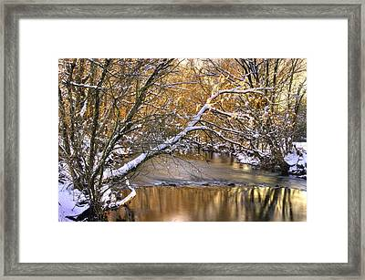 Gold In The Creek B1 - Owens Creek Near Loys Station Covered Bridge - Winter Frederick County Md Framed Print by Michael Mazaika