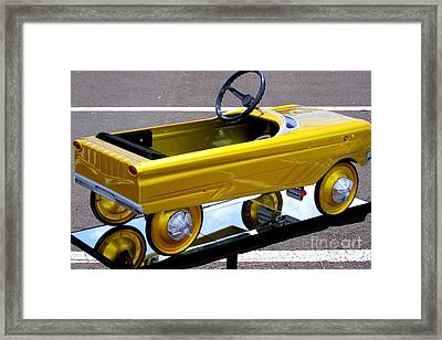 Gold Kiddie Car Framed Print by Mary Deal